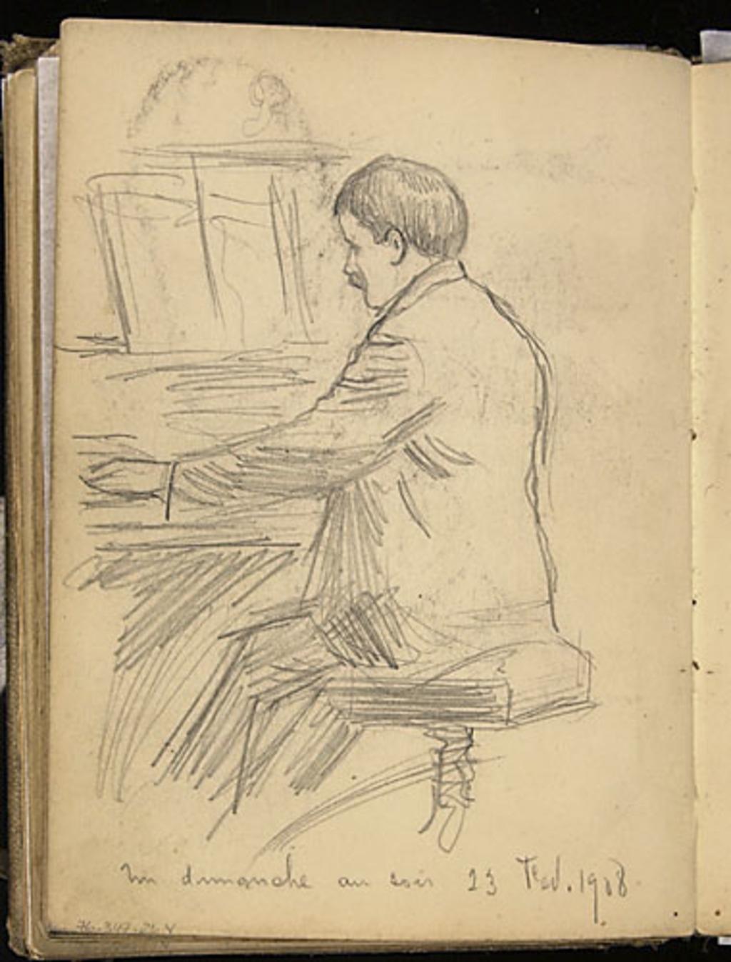 Homme au piano, un dimanche soir en février