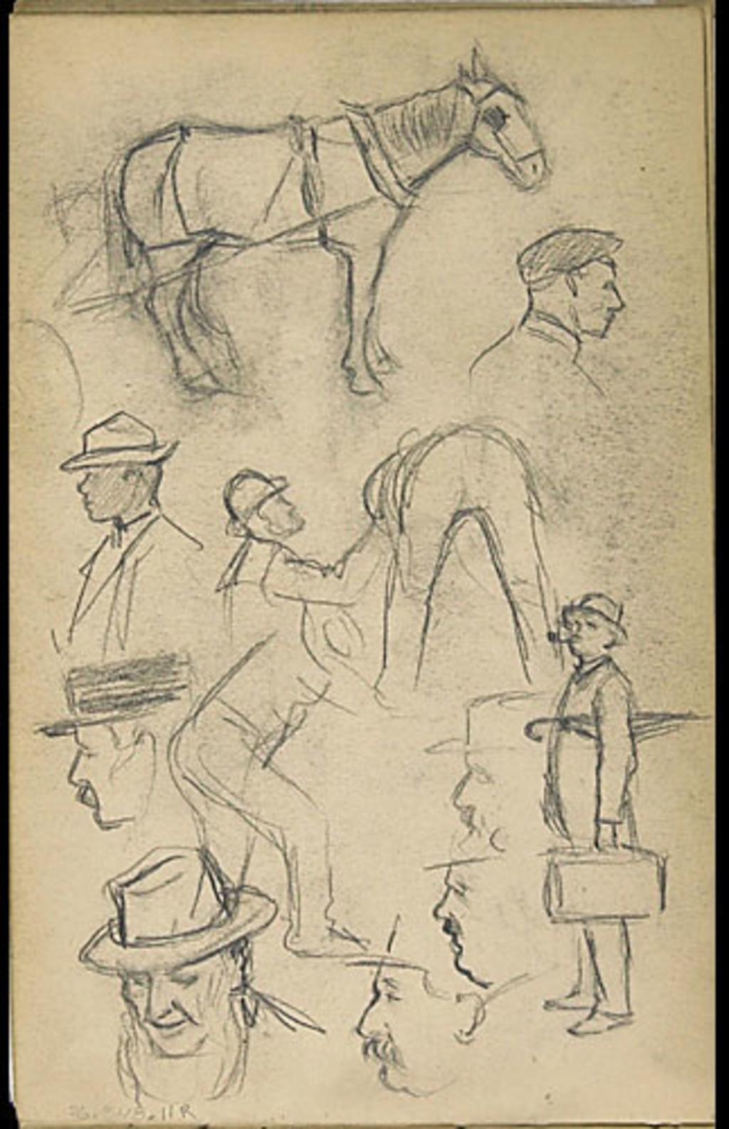 Études de personnages, de costume et d'un cheval attelé