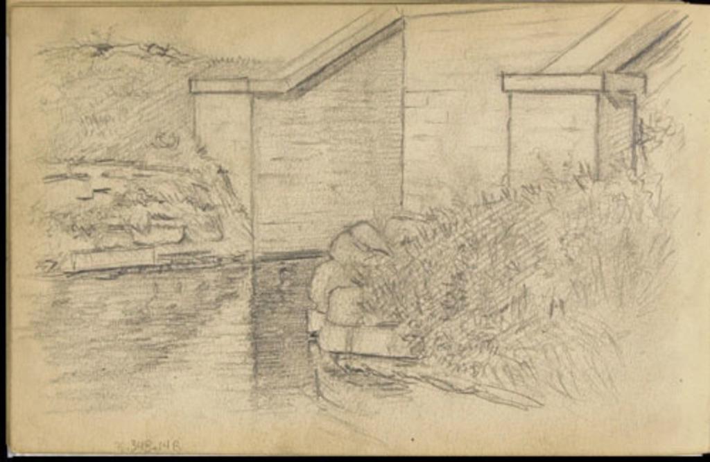 Ouvrage de maçonnerie sur un plan d'eau