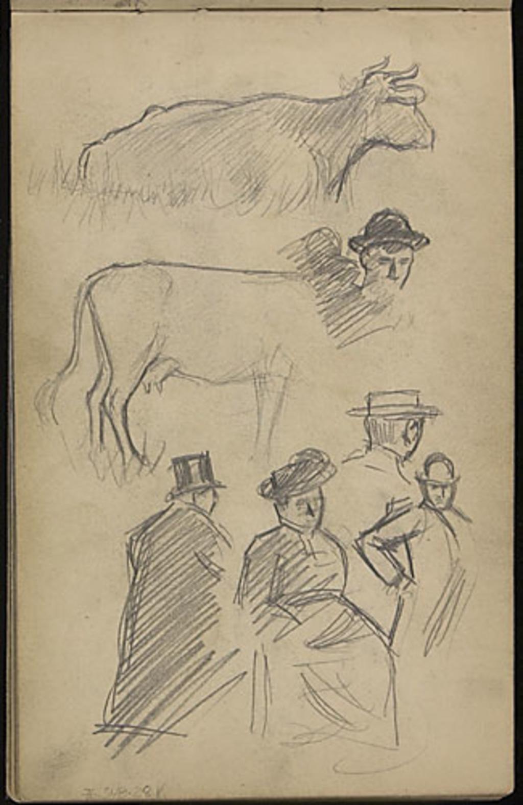 Études de personnages et de vaches
