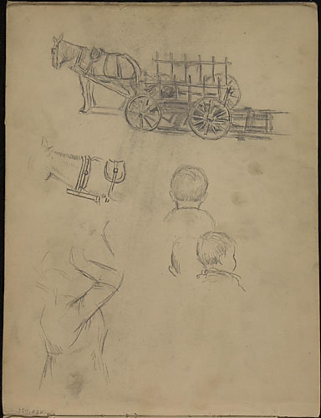 Un chariot de ferme attelé et études de personnages