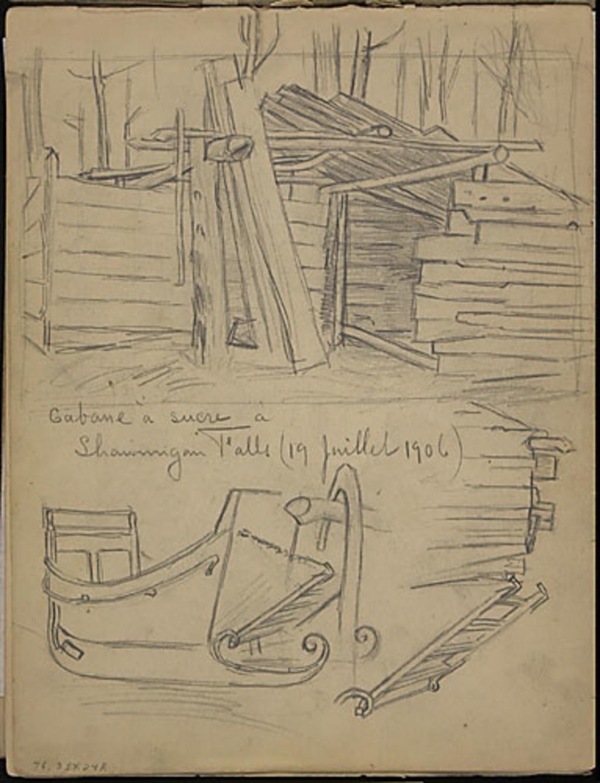 Un traîneau et une cabane à sucre à Shawinigan Falls (étude pour « Les Sucres » de 1918)