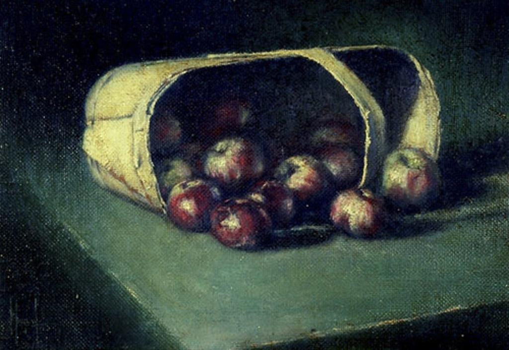 Panier de pommes renversé