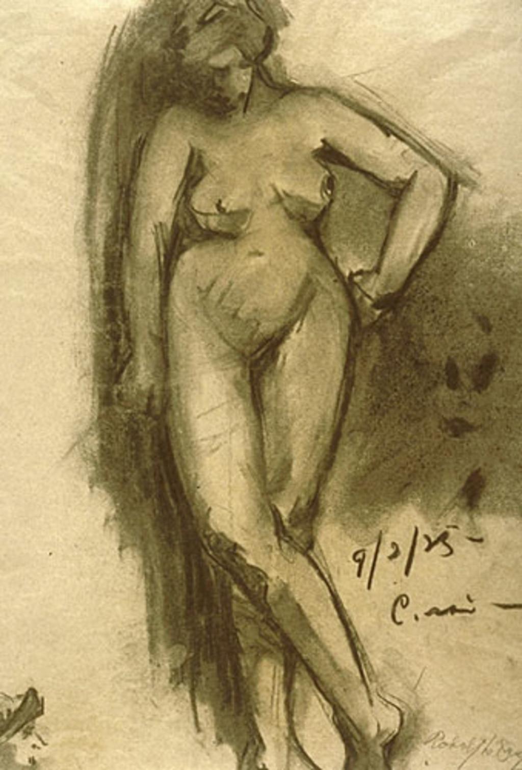 Nu féminin vu de face, le bras gauche appuyé sur la hanche