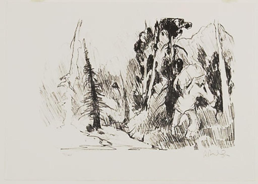 Un portageur en forêt, du livre d'artiste «René Richard»
