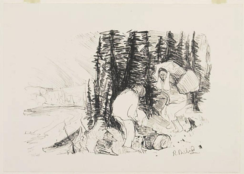 Deux Portageurs sur la rive, du livre d'artiste «René Richard»
