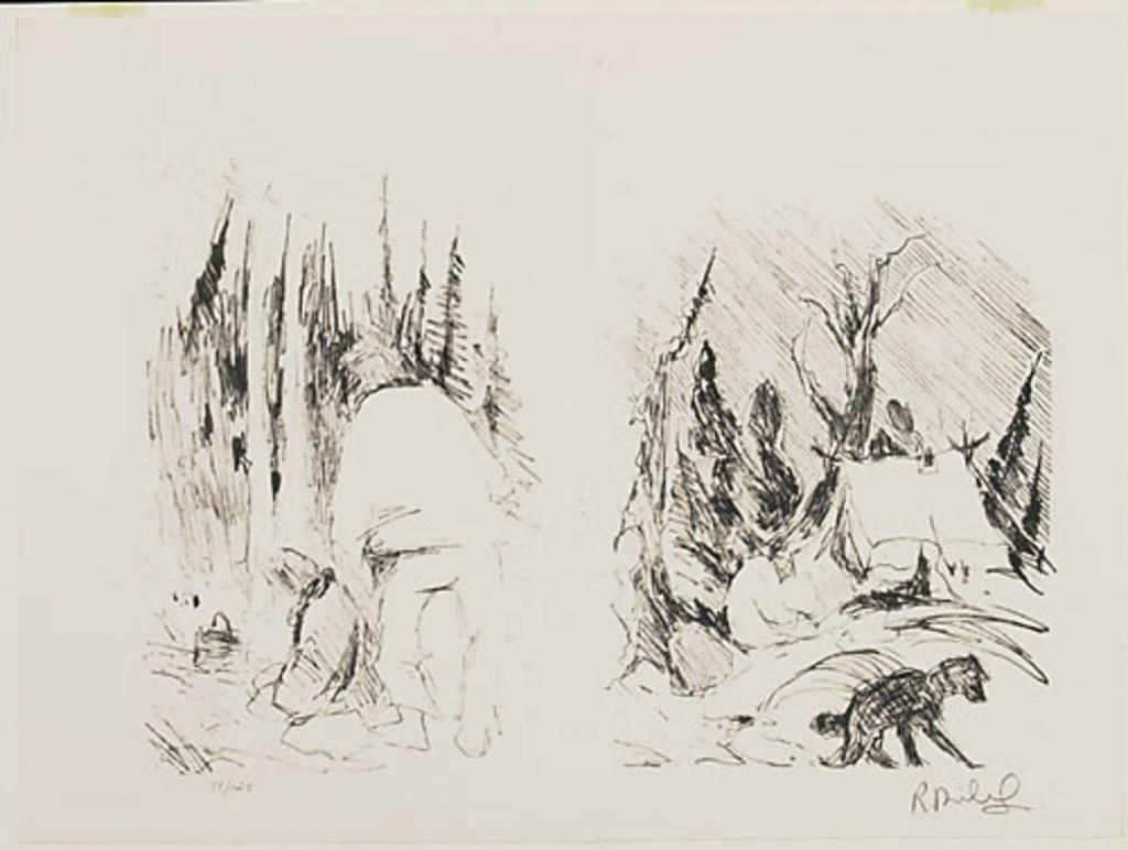 Un trappeur prépare son campement, du livre d'artiste «René Richard»