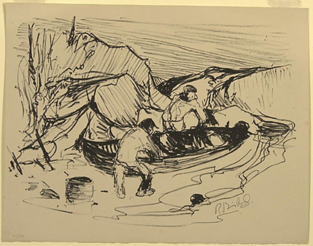 Deux hommes se préparant à partir en canot, du livre d'artiste «La Montagne secrète»