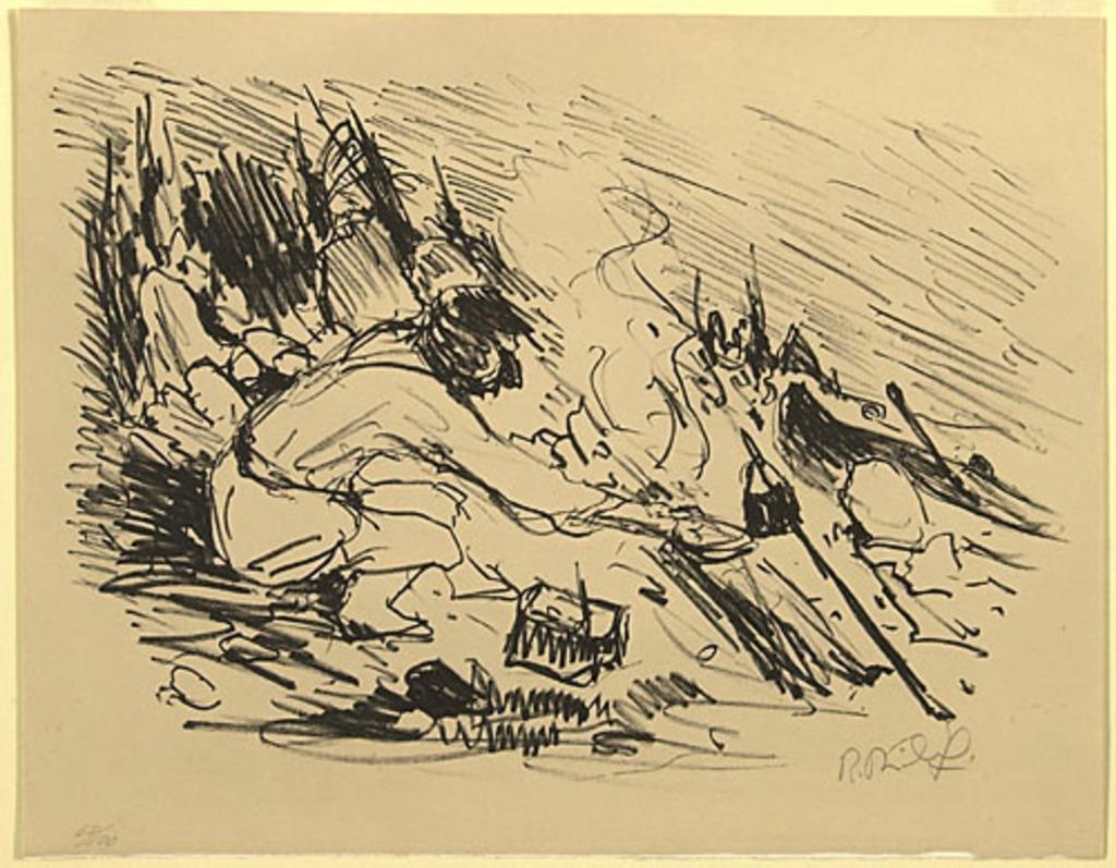 Trappeur préparant son repas, du livre d'artiste «La Montagne secrète»
