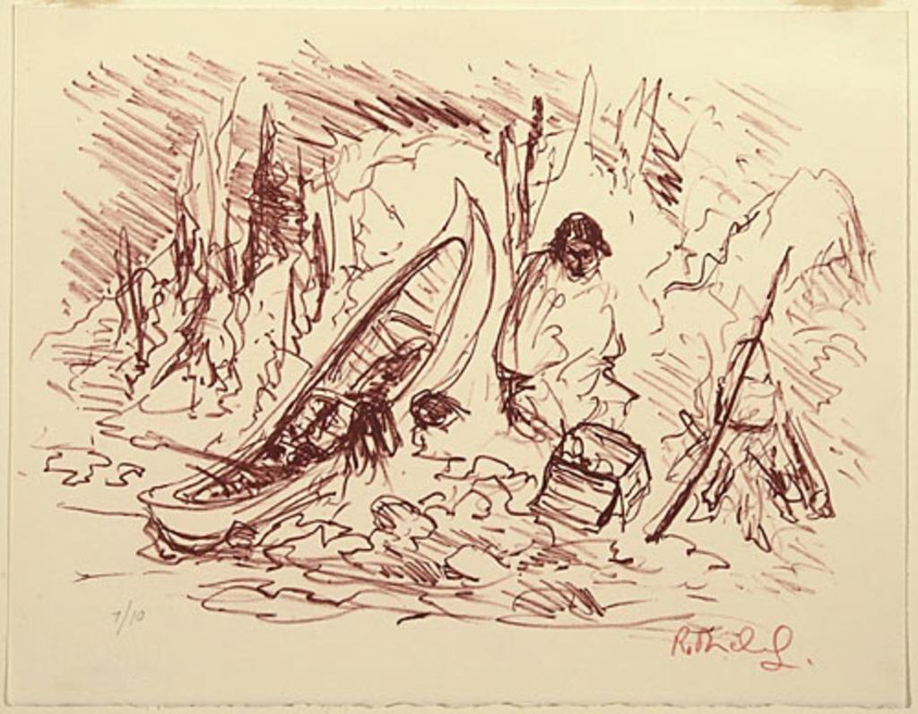 Un trappeur préparant son repas, du livre d'artiste «La Montagne secrète»