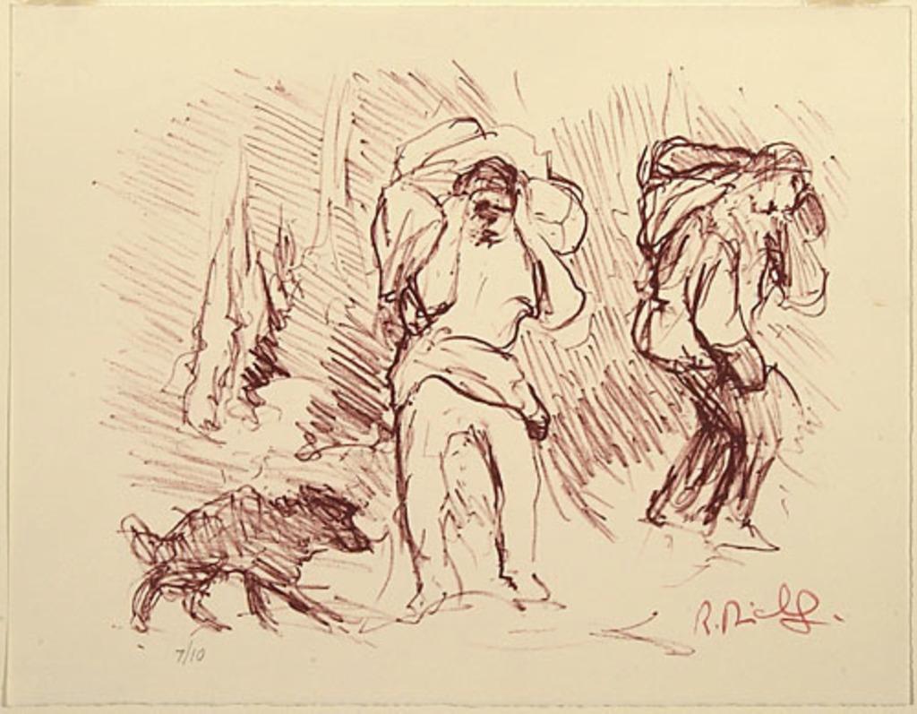 Deux Portageurs suivis d'un chien dans la forêt, du livre d'artiste «La Montagne secrète»