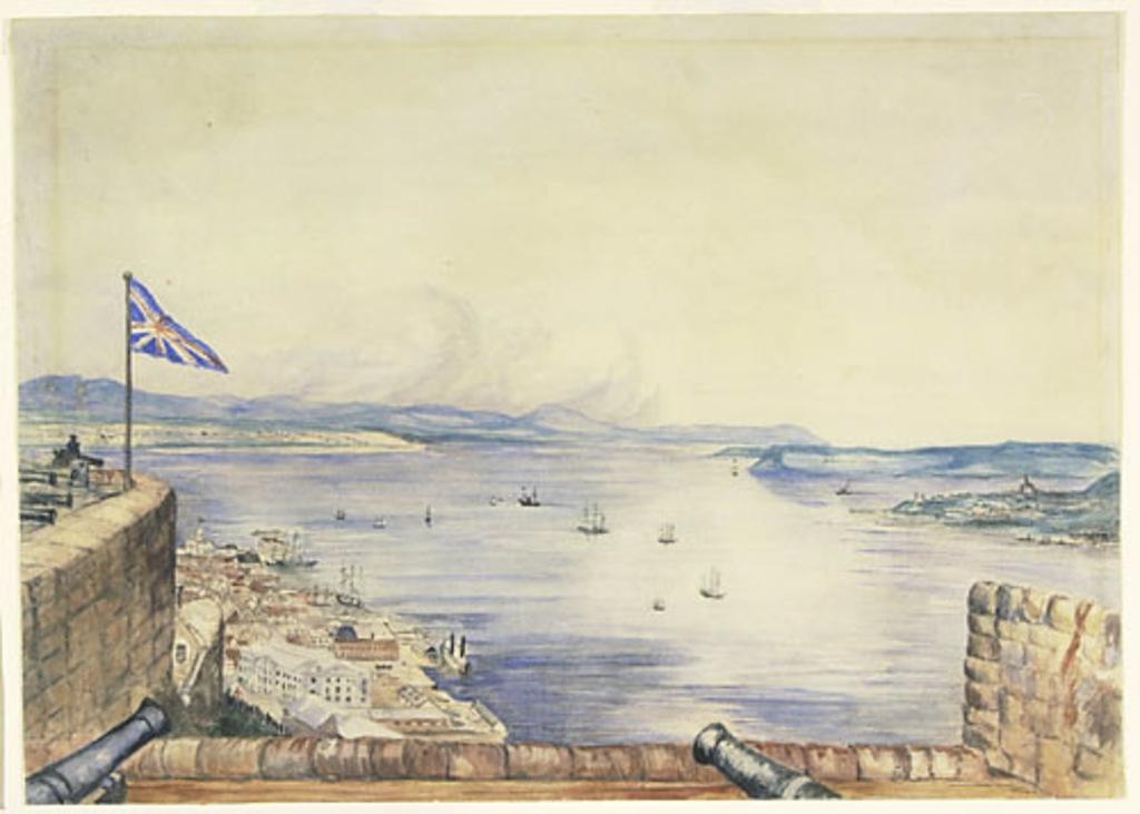 La Basse-Ville de Québec et le Saint-Laurent vus de la citadelle