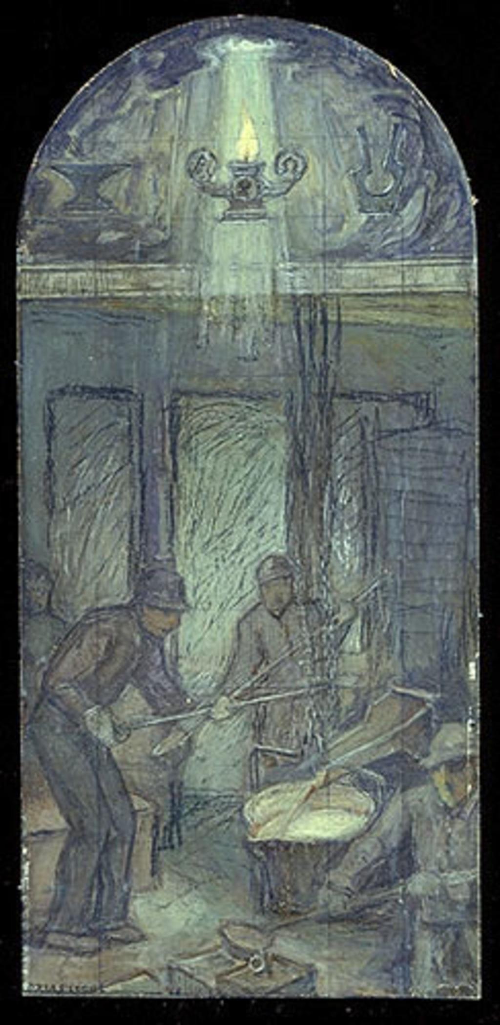 Les Fondeurs de métal. Mise au carreau pour la décoration de l'église de Shawinigan-Sud