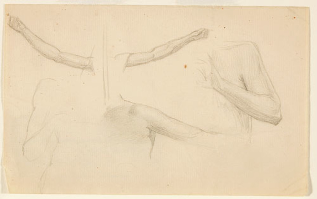 Cinq Études anatomiques de bras pour « La Sainte Tritiné ». Étude pour la décoration de l'église de Shawinigan-Sud