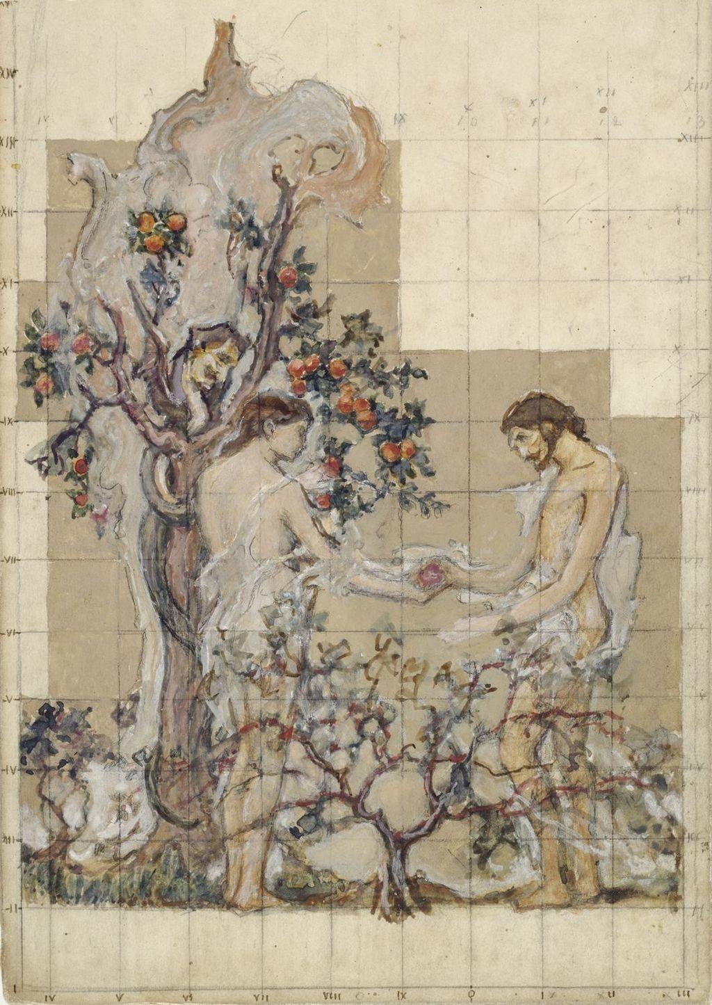 La Tentation d'Adam et Ève. Mise au carreau pour la décoration de l'église de Shawinigan-Sud