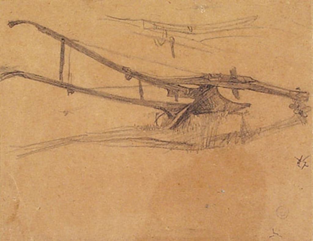 Croquis d'une charrue pour « Les Défricheurs ». Étude pour la décoration de l'église de Shawinigan-Sud