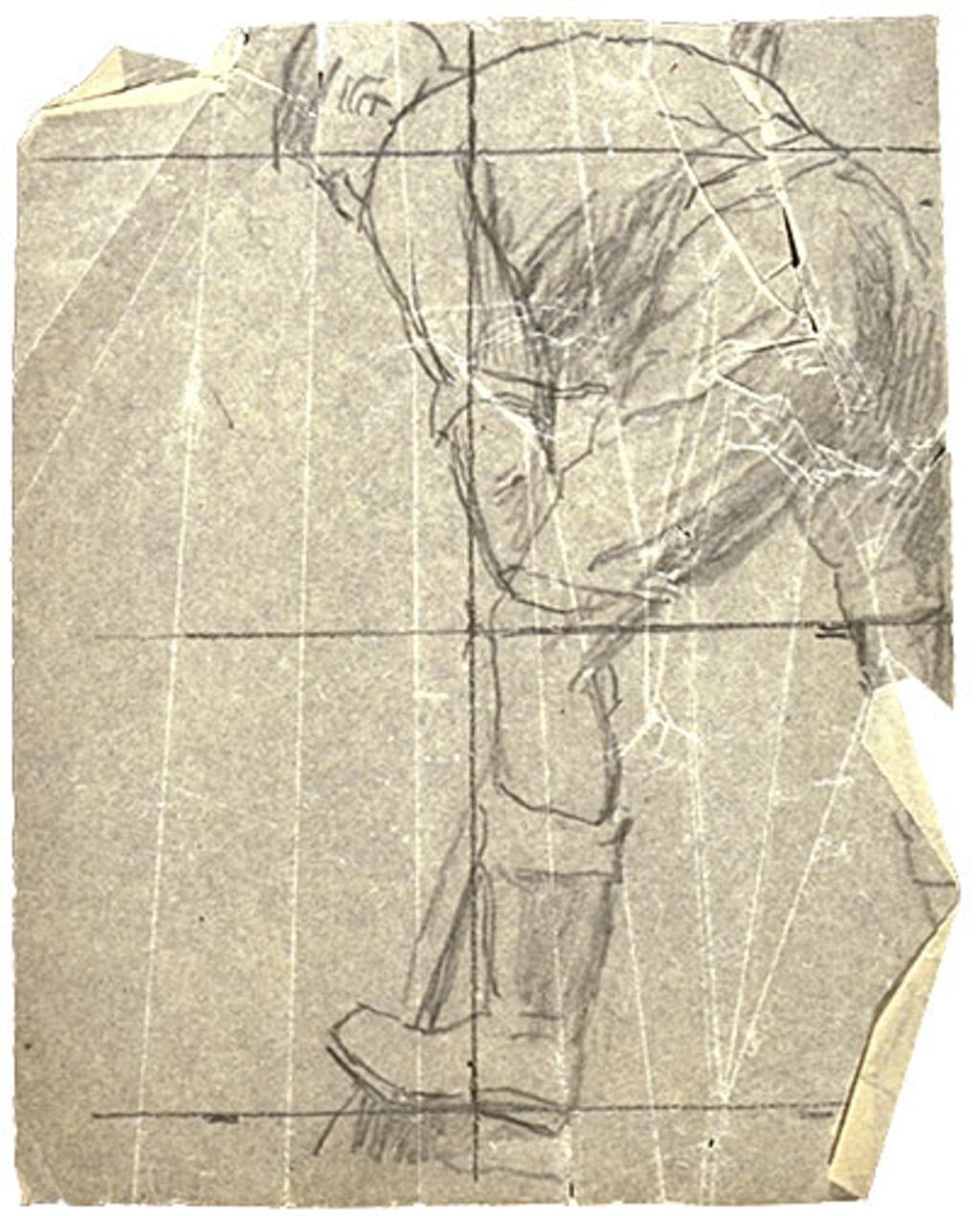 Figure d'homme travaillant aux champs pour « Le Semeur ». Mise au carreau pour la décoration de l'église Shawinigan-Sud
