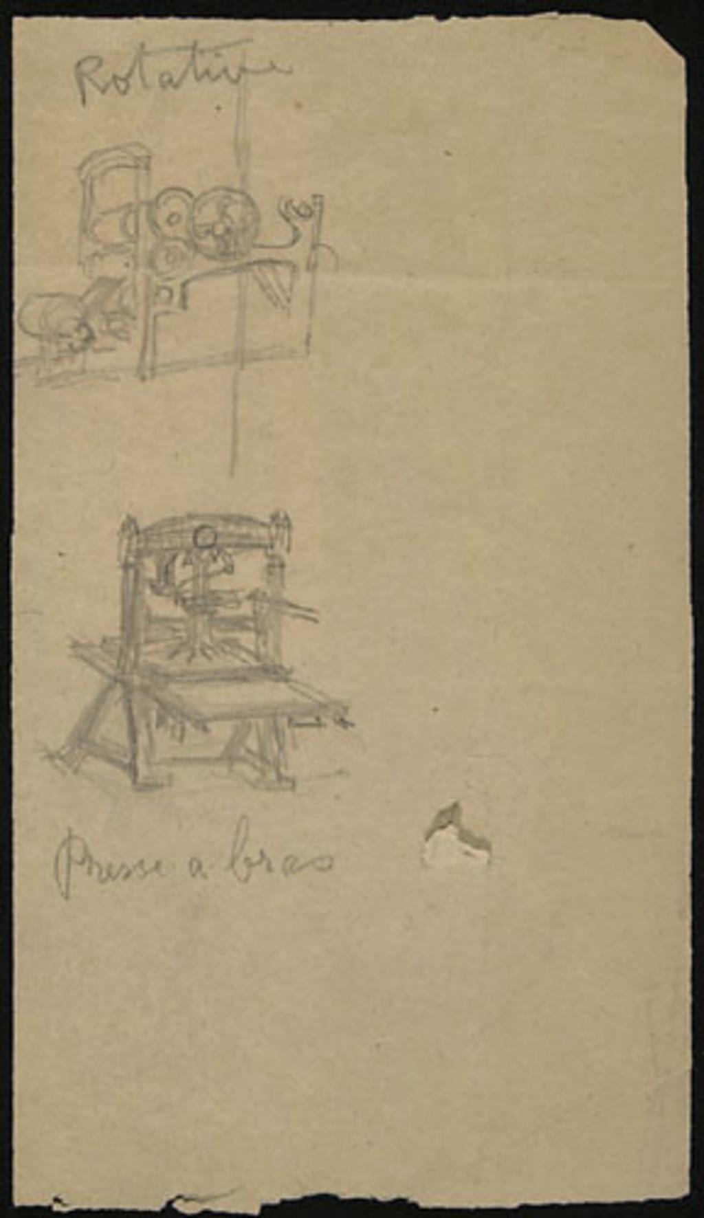 Rotative et presse à imprimer pour «Les Chargeurs de meules». Étude pour la décoration de l'église de Shawinigan-Sud