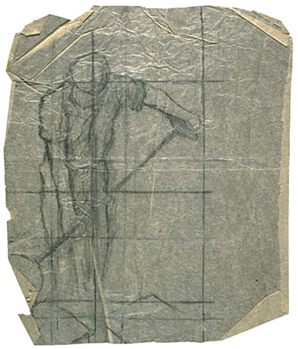 Figure de travailleur pour « Les Fondeurs de métal ». Mise au carreau pour la décoration de l'église de Shawinigan-Sud