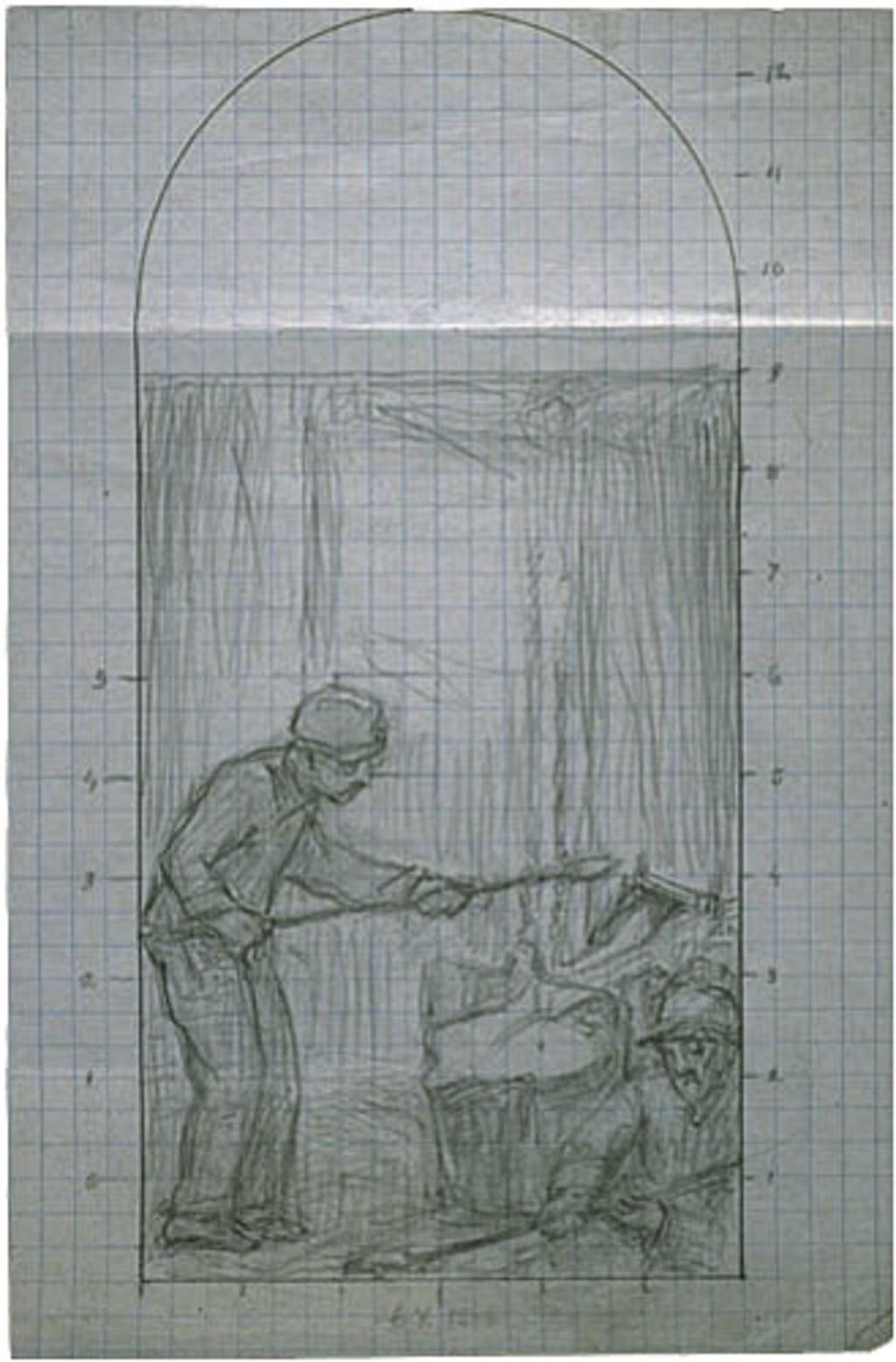 Esquisse pour « Les Fondeurs de métal ». Mise au carreau pour la décoration de l'église de Shawinigan-Sud