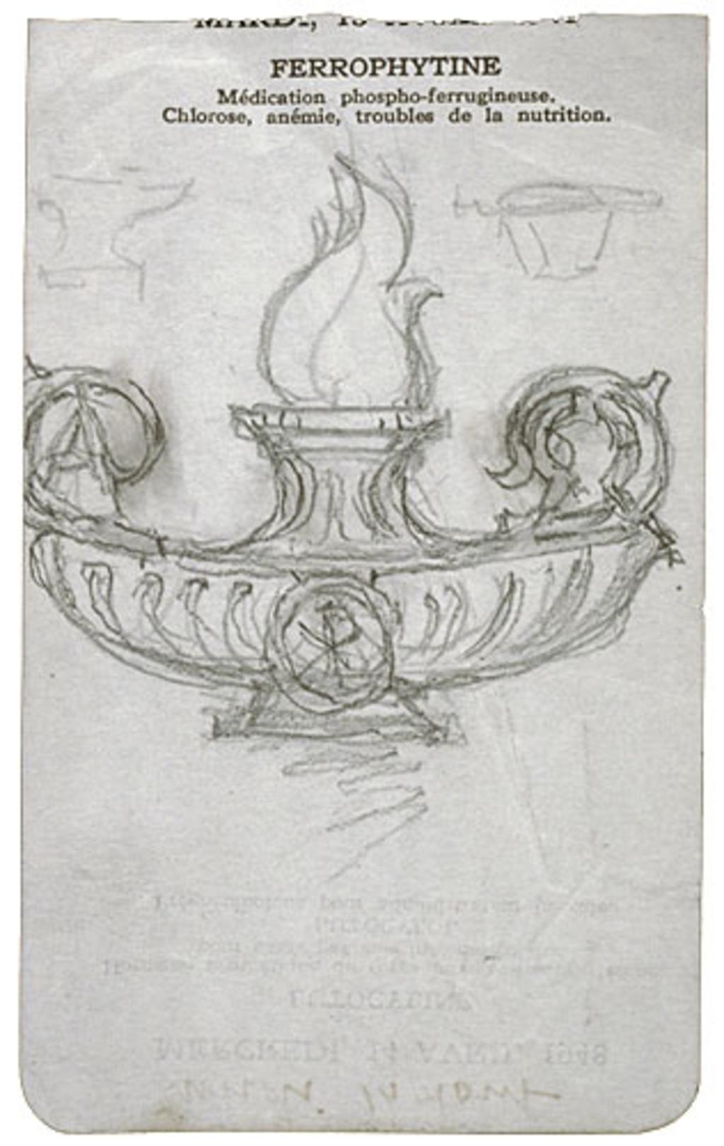 Lampe pour « Les Fondeurs de métal ». Étude pour la décoration de l'église de Shawinigan-Sud