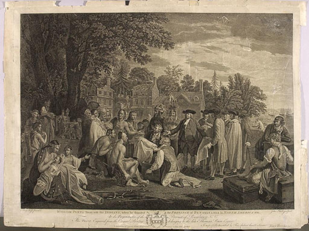 Le traité de William Penn avec les Indiens établissant la province de Pennsylvanie en Amérique du Nord en 1681