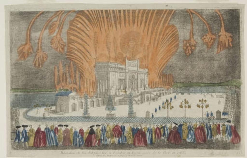 Décoration du feu d'artifice tiré à Londres, en réjouissance de la Paix en 1763