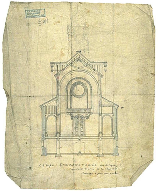 Chapelle Notre-Dame-de-Lourdes, Montréal. Coupe transversale de l'arrière