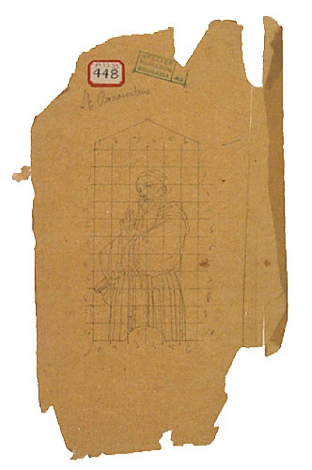 Saint Bonaventure. Esquisse mise au carreau pour la décoration d'un mur du transept droit de la chapelle Notre-Dame-de-Lourdes, Montréal