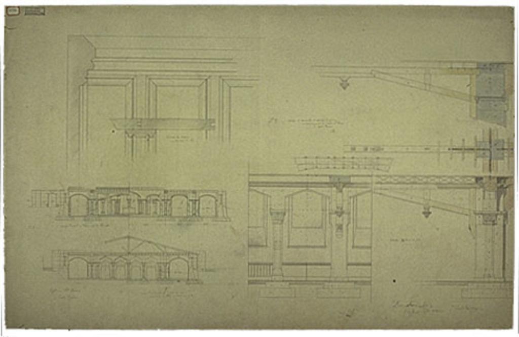 Église Sainte-Anne de Fall River, États-Unis. Coupes transversales du soubassement avec détails de la charpente et des supports, plan nº 7