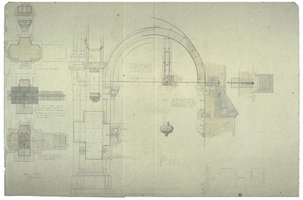 Église Sainte-Anne de Fall River, États-Unis. Plan de la structure des arcs et des piliers avec détails des chapiteaux, nº 10