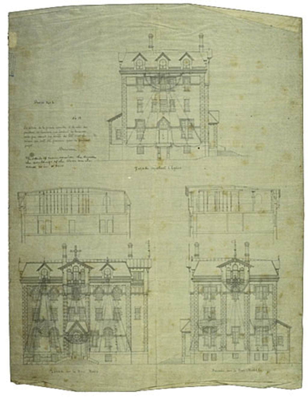 Presbytère de Sainte-Anne de Fall River, États-Unis. Élévations et coupes de trois façades, projet nº 2 et plan nº 12
