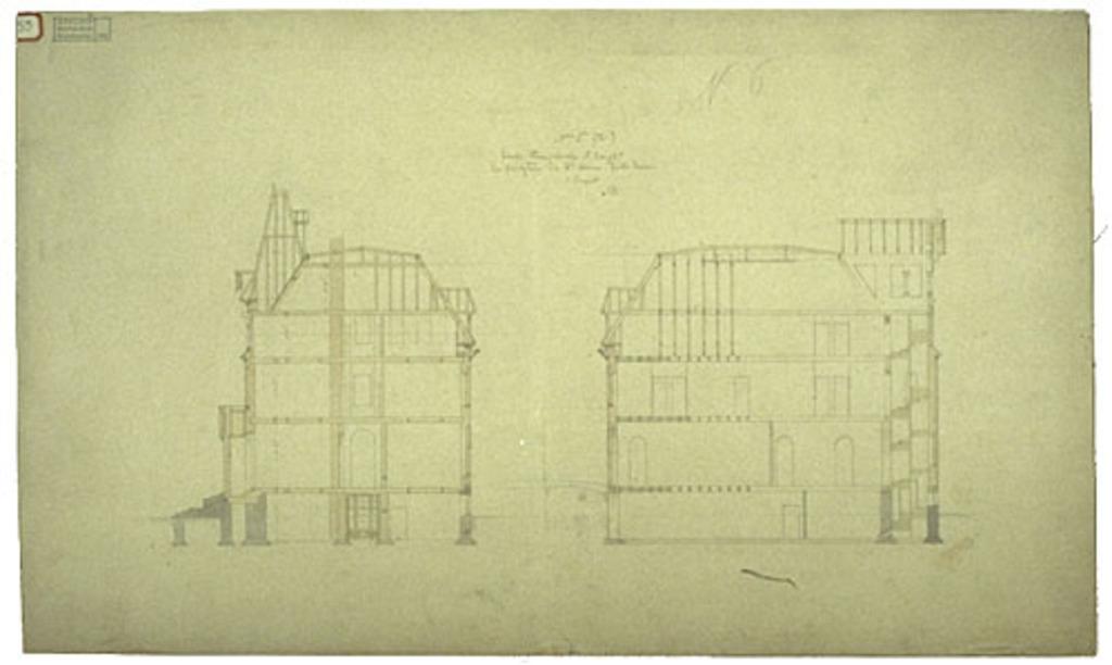 Presbytère de Sainte-Anne de Fall River, États-Unis. Coupes transversale et longitudinale, projet nº 1, plan nº 6
