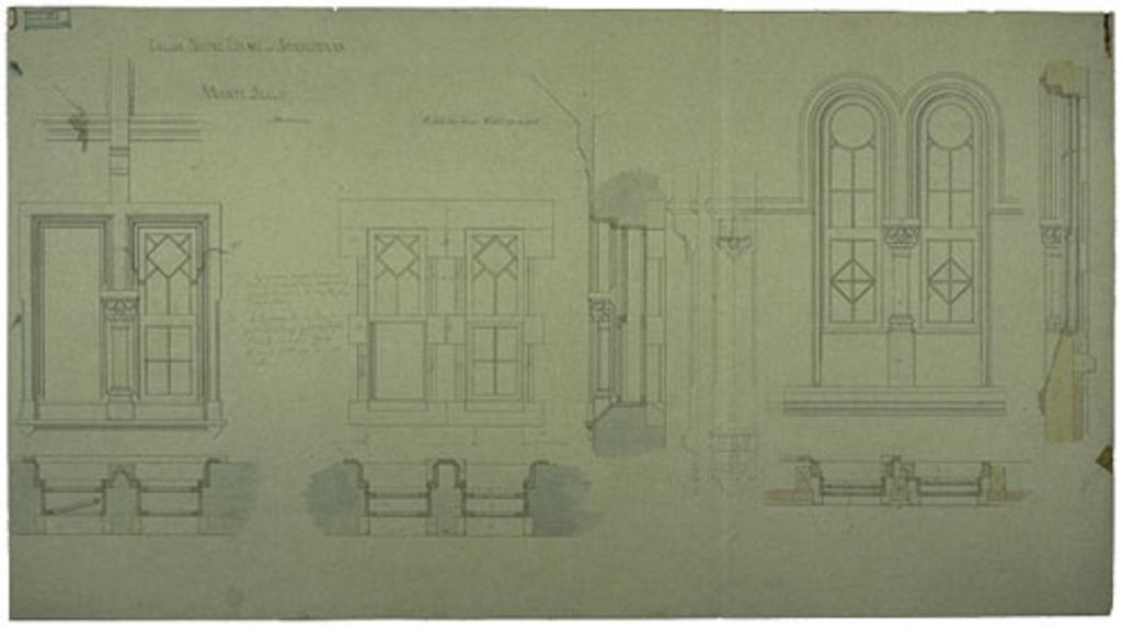 Église Notre-Dame-de-Bonsecours, Montebello. Élévations et plans des ouvertures