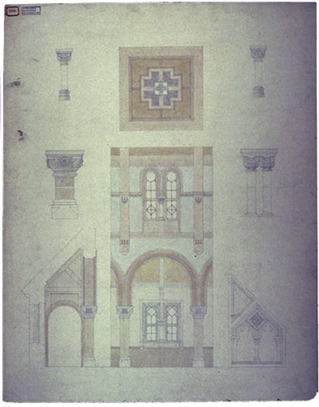 Église Notre-Dame-de-Bonsecours, Montebello. Élévations et coupes des bas-côtés et des colonnes