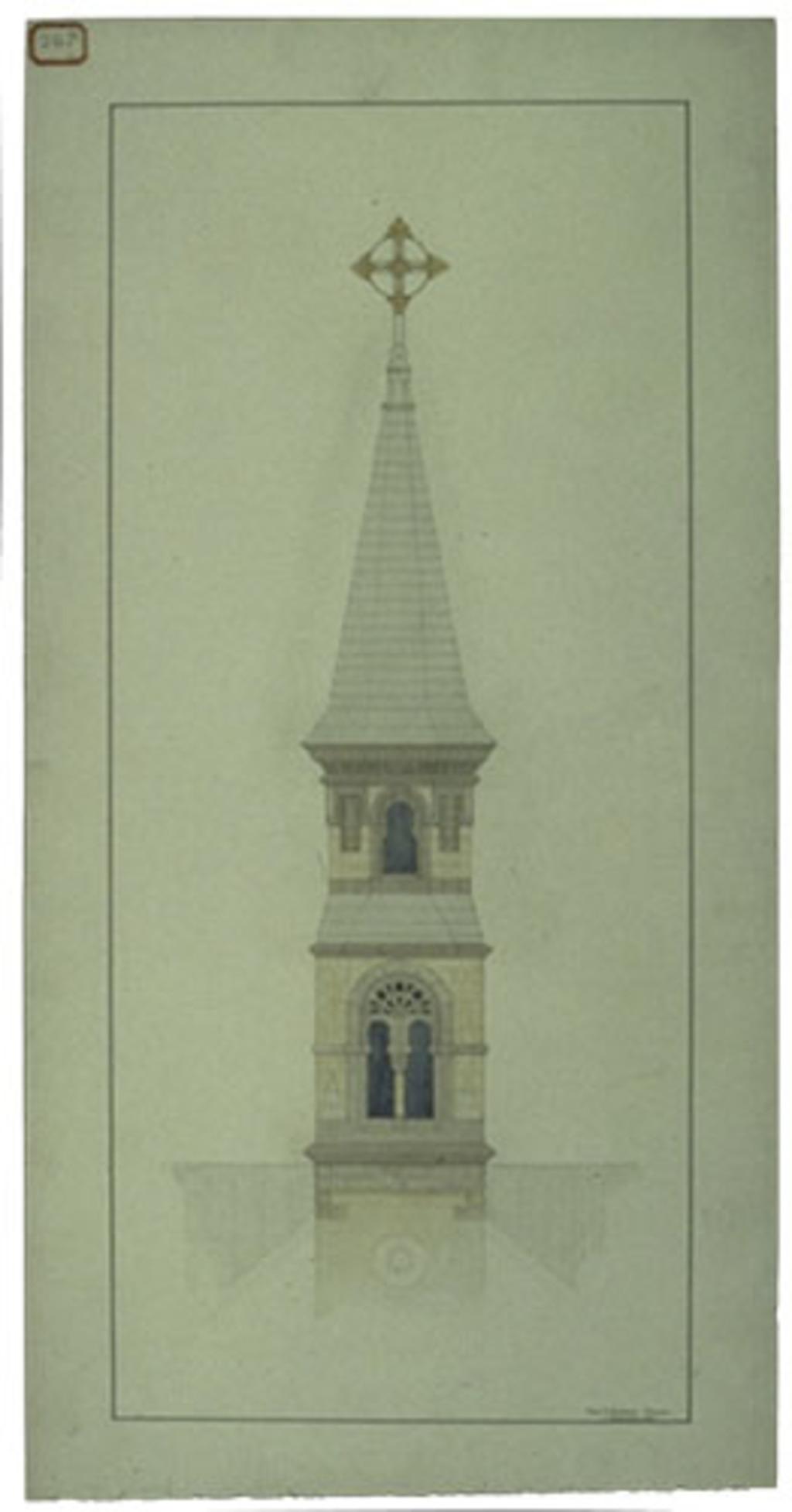Église Notre-Dame-de-Bonsecours, Montebello. Élévation du clocher