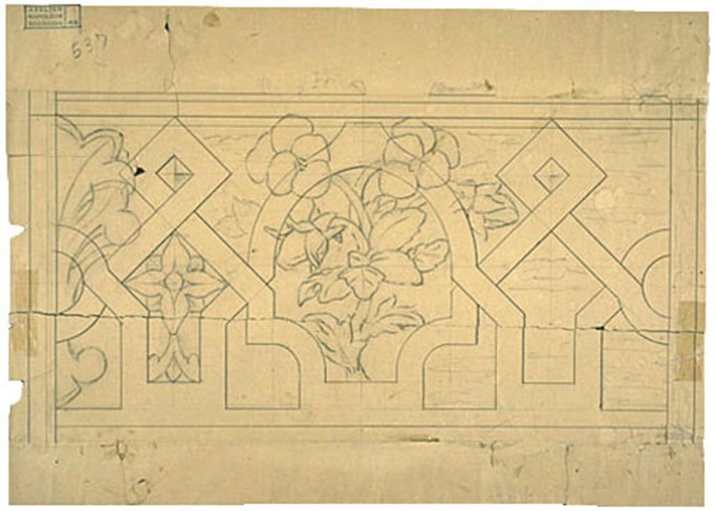 Caveau funéraire de la famille Bourassa, Montebello. Esquisse et poncif de motif ornemental