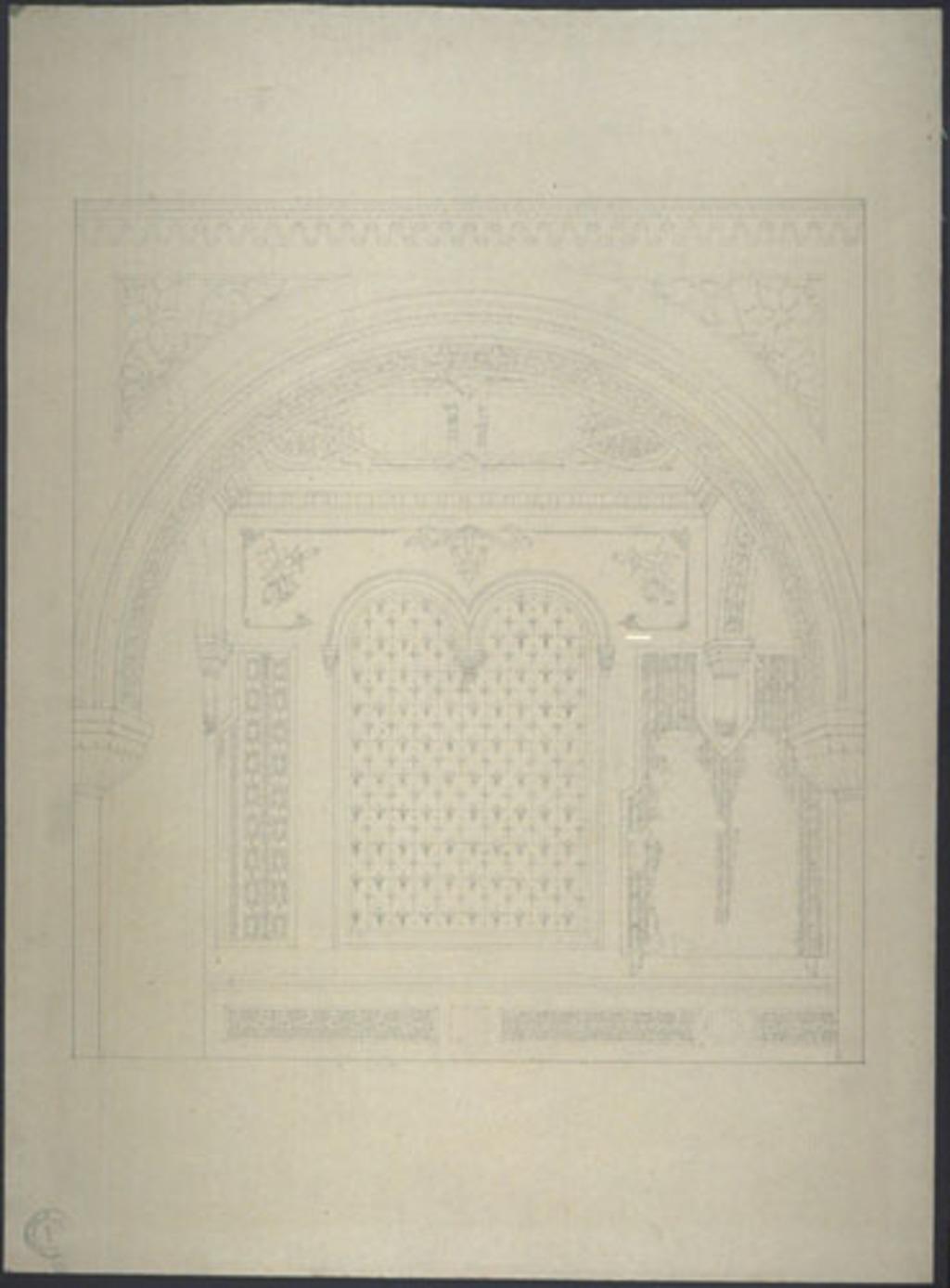 Relevé des motifs ornementaux d'une travée d'un bas-côté. Étude pour la rénovation de la chapelle Nazareth, Montréal