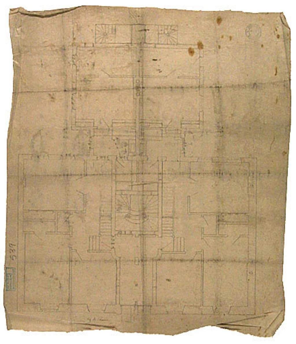 Résidence de l'artiste aux 92-94, rue Saint-Denis, Montréal. Plan au sol du 1er étage