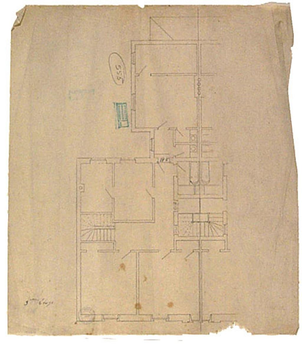 Résidence de l'artiste aux 92-94, rue Saint-Denis, Montréal. Plan au sol du 3e étage
