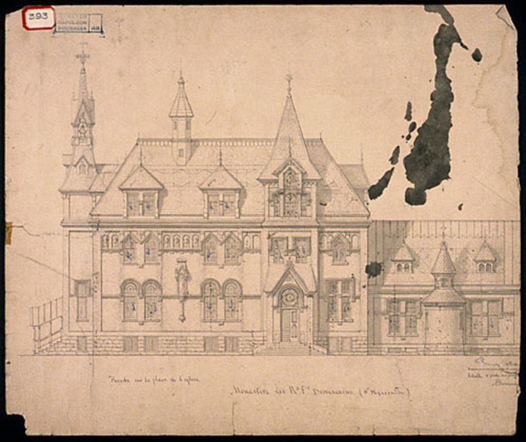 Monastère des Dominicains de Saint-Hyacinthe. Élévation de la façade principale