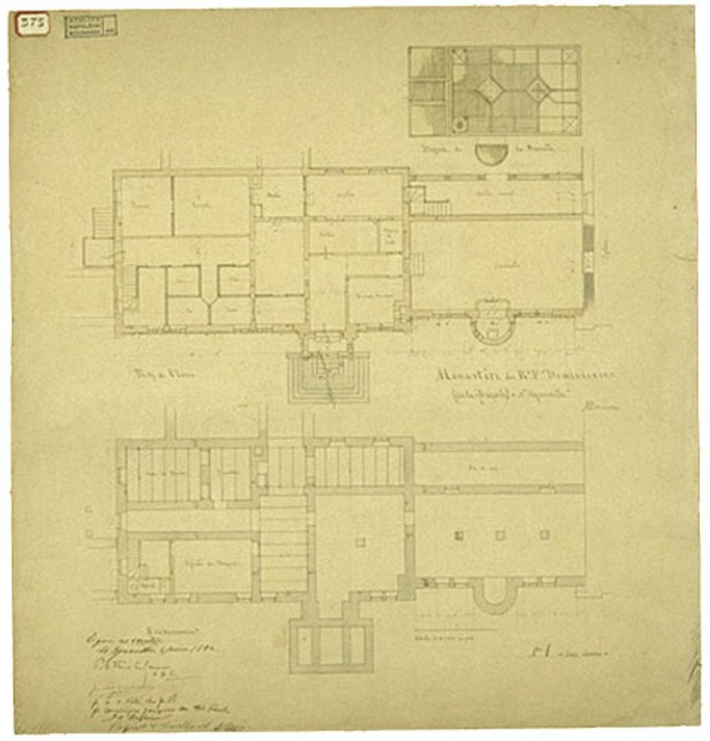 Monastère des Dominicains de Saint-Hyacinthe. Plans au sol du rez-de-chaussée, du soubassement et du plafond de la sacristie, plan nº 1