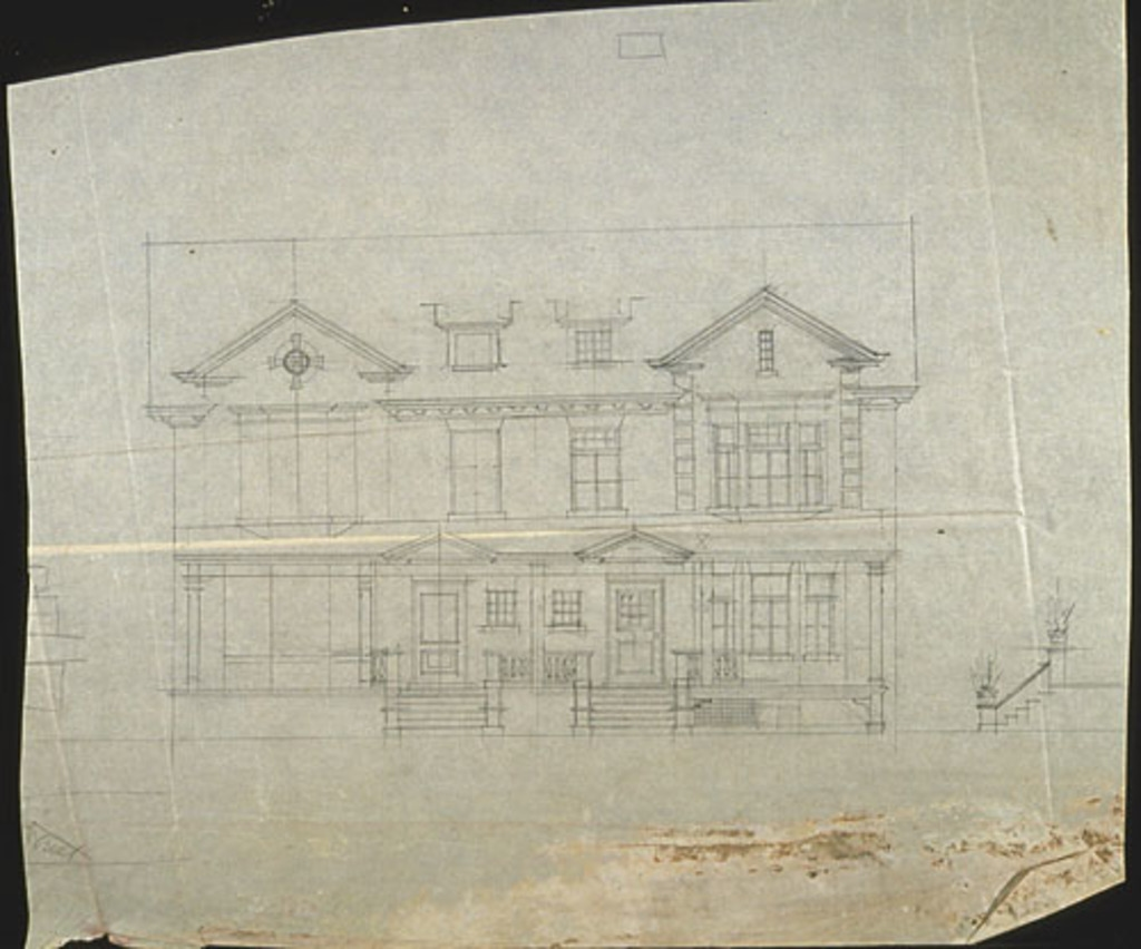 Élévation de la façade de deux maisons jumelées