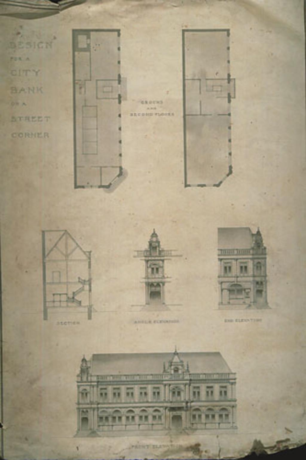 Design for a City Bank on a Street Corner