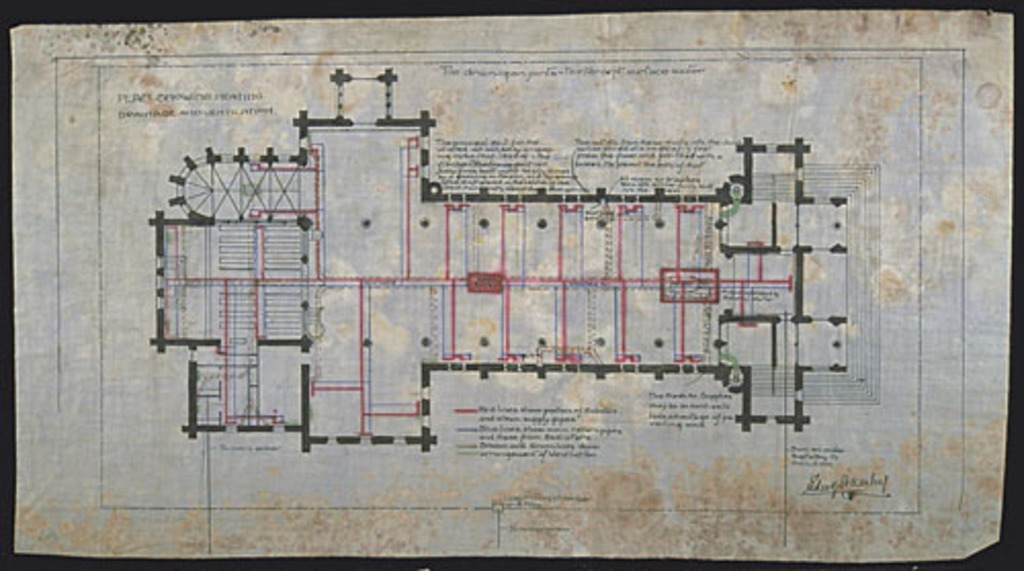 Plan Showing, Heating, Drainage and Ventilation