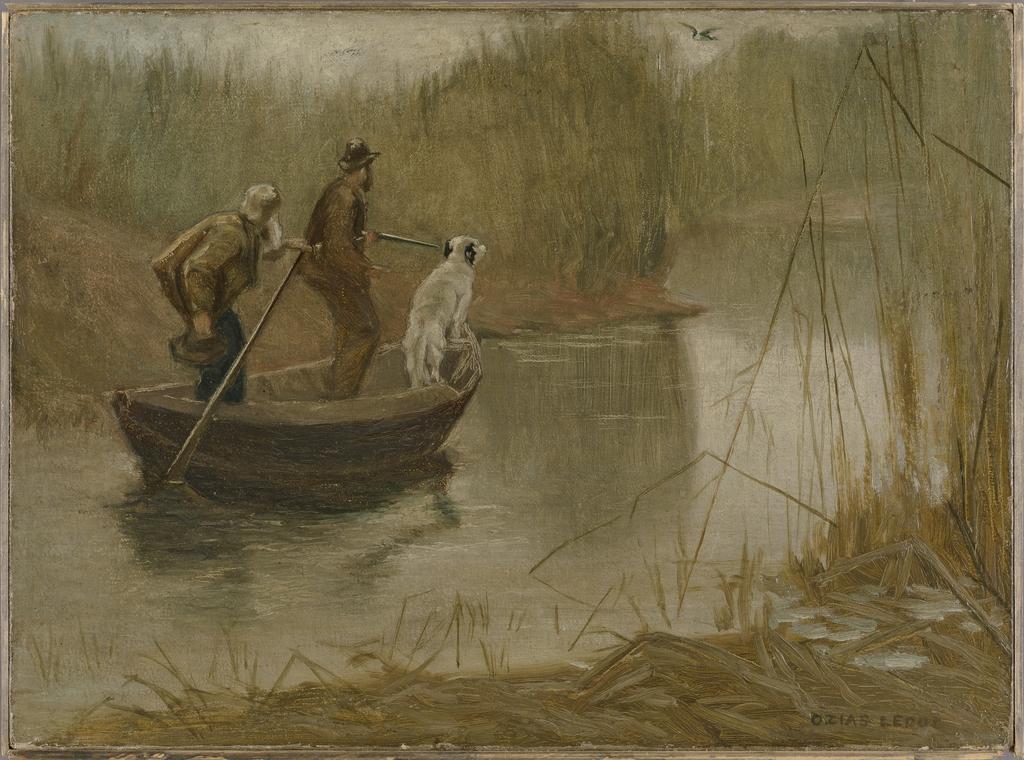 Chasse aux canards par un matin brumeux