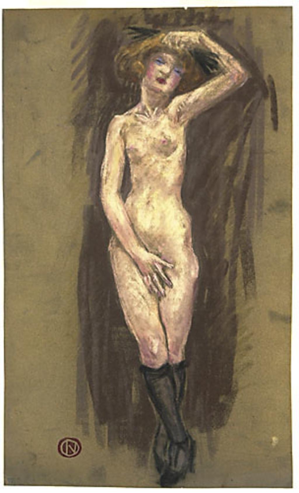 Femme nue, la main gauche sur la tête