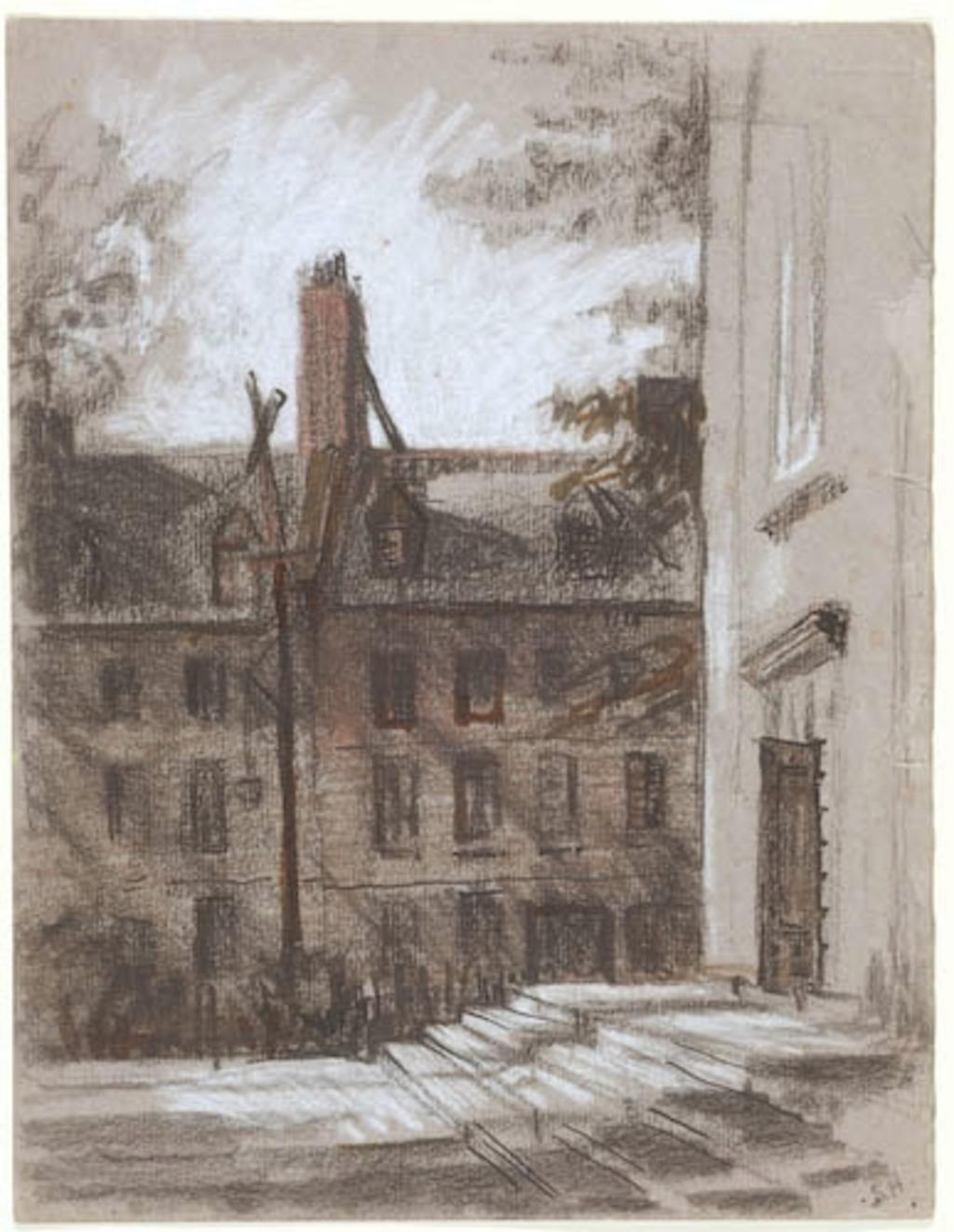 Maison rue Sainte-Anne et parvis de la cathédrale anglicane à Québec