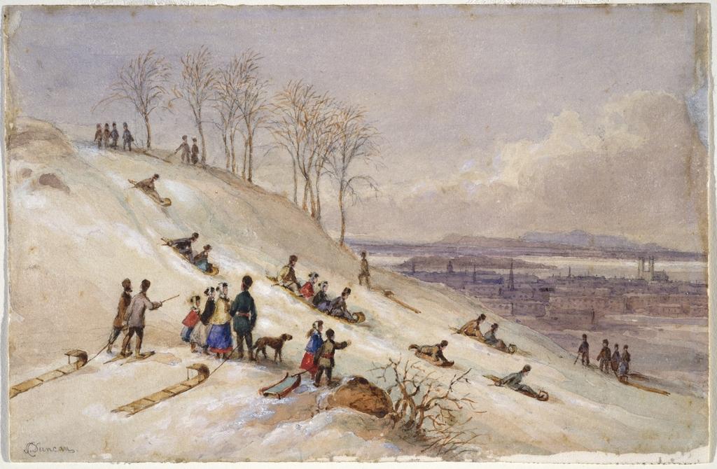 Descente en toboggan sur le mont Royal à Montréal
