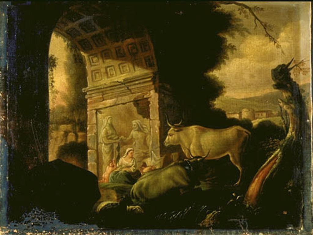 Scène biblique dans un paysage avec un arc antique